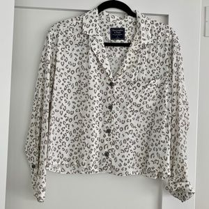 Abercrombie Animal Print Button-Up Crepe Top